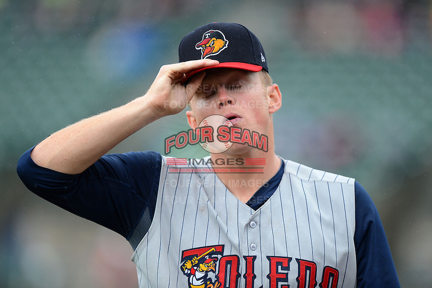 Toledo Mudhens pitcher Casey Crosby #24 walks off the field during a game against the Rochester Red Wings on June 11, 2013 at Frontier Field in Rochester, New York.  Toledo defeated Rochester 9-5.  (Mike Janes/Four Seam Images)
