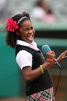 Jupiter Hammerheads have Little Miss Florida Tamara Hoffenden sings the national anthem before a game against the Bradenton Marauders at Roger Dean Stadium on April 30, 2012 in Jupiter, Florida.  Bradenton defeated Jupiter 8-0.  (Mike Janes/Four Seam Images)