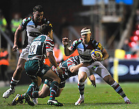 Leicester, England. Mike Brown of Harlequins charges forward during the Aviva Premiership match between Leicester Tigers and Harlequins at Welford Road on September 22, 2012 in Leicester, England.