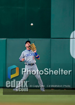 7 October 2017: Chicago Cubs outfielder Albert Almora Jr. pulls in a fly ball to center to end the first inning against the Washington Nationals at Nationals Park in Washington, DC. The Nationals defeated the Cubs 6-3 and even their best of five Postseason series at one game apiece. Mandatory Credit: Ed Wolfstein Photo *** RAW (NEF) Image File Available ***