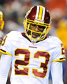 Landover, MD - December 27, 2009 -- Washington Redskins cornerback DeAngelo Hall (23) looks tired in the fourth quarter against the Dallas Cowboys at FedEx Field in Landover, Maryland on Sunday, December 27, 2009.  The Cowboys won the game 17 - 0..Credit: Ron Sachs / CNP.(RESTRICTION: NO New York or New Jersey Newspapers or newspapers within a 75 mile radius of New York City)