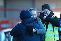 Manchester United Women manager Casey Stone hugs Brighton & Hove Albion Women manager Hope Powell ahead of Brighton & Hove Albion Women vs Manchester United Women, SSE Women's FA Cup Football at Broadfield Stadium on 3rd February 2019