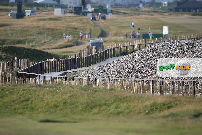 The shoreline landscape with the beach separated from the course by a boardwalk during Round One of the 2014 Senior Open Championship presented by Rolex from Royal Porthcawl Golf Club, Porthcawl, Wales. Picture:  David Lloyd / www.golffile.ie