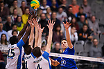 16.01.2019, ZF Arena, Friedrichshafen<br />Volleyball, 2019 CEV Volleyball Champions League, Vorrunde, VfB Friedrichshafen vs. Zenit St. Petersburg (RUS)<br /><br />Block  / Dreierblock Oreol Camejo (#15 St. Petersburg), Sergei Cherviakov (#1 St. Petersburg), Sergey Antipkin (#4 St. Petersburg) - Angriff Bartlomiej Boladz (#1 Friedrichshafen)<br /><br />  Foto &copy; nordphoto / Kurth