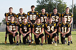 August 21, 2014- Tuscola, IL- The 2014 Tuscola Warrior Football Seniors. Back row from left are Griffin Day, Eric Phillips, Bryce VonLanken, Josh Knight, Clayton Turner, and Nick Henderson. Front row from left are Zach Bates, Tyler Hale, Jarrett McMasters, Cole Evans, and Blake Woodard. [Photo: Douglas Cottle]