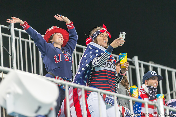 USA fans celebrate another win after the USA vs India women's Pool B game at the Rio 2016 Olympics at the Olympic Hockey Centre in Rio de Janeiro, Brazil.