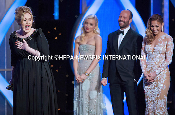 ADELE.winner of  BEST ORIGINAL SONG - MOTION PICTURE for ?SKYFALL? at the 70th Annual Golden Globes Awards at the Beverly Hilton in Beverly Hills_13/01/2013.MANDATORY PHOTO CREDIT: HFPA/NEWSPIX INTERNATIONAL . .(Failure to by-line the photograph will result in an additional 100% reproduction fee surcharge. You must agree not to alter the images or change their original content)..            *** ALL FEES PAYABLE TO: NEWSPIX INTERNATIONAL ***..IMMEDIATE CONFIRMATION OF USAGE REQUIRED:Tel:+441279 324672..Newspix International, 31 Chinnery Hill, Bishop's Stortford, ENGLAND CM23 3PS.Tel: +441279 324672.Fax: +441279 656877.Mobile: +447775681153.e-mail: info@newspixinternational.co.uk
