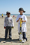 Nikhil Batiya and Ametas Bala at the Cricket Tournament on Laytown Beach...Picture Jenny Matthews/Newsfile.ie
