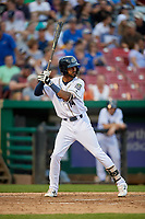 Kane County Cougars center fielder Luis Silverio (14) at bat during a game against the West Michigan Whitecaps on July 19, 2018 at Northwestern Medicine Field in Geneva, Illinois.  Kane County defeated West Michigan 8-5.  (Mike Janes/Four Seam Images)