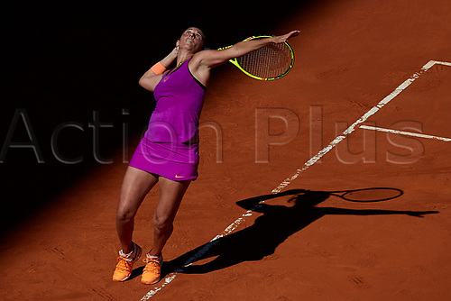 May 9th 2017, Caja Magica, Madrid, Spain; Mutua Madrid Open tennis tournament; Roberta Vinci of Italy serves as she loses against Simona Halep of Roumania in a tough 3 sets