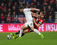 Bournemouth's Simon Francis (R) battles with Swansea City's Borja Baston (L)<br /> <br /> Bournemouth 2 - 0 Swansea<br /> <br /> Photographer David Horton/CameraSport<br /> <br /> The Premier League - Bournemouth v Swansea City - Saturday 18th March 2017 - Vitality Stadium - Bournemouth<br /> <br /> World Copyright &copy; 2017 CameraSport. All rights reserved. 43 Linden Ave. Countesthorpe. Leicester. England. LE8 5PG - Tel: +44 (0) 116 277 4147 - admin@camerasport.com - www.camerasport.com