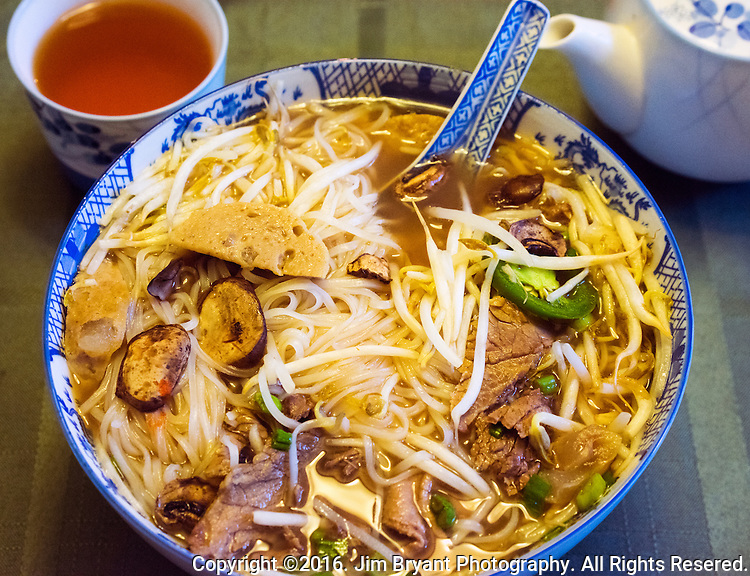 Vietnamese, Pho soup made with beef, meat balls, bean sprouts, onions, rice noodles, Bok Choy cabbage, and green cabbage  ©2016. Jim Bryant Photo. All Rights Reserved