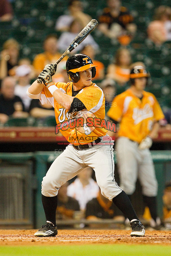 Chris Pierce #5 of the Tennessee Volunteers at bat against the Houston Cougars at Minute Maid Park on March 2, 2012 in Houston, Texas.  The Cougars defeated the Volunteers 7-4.  (Brian Westerholt/Four Seam Images)