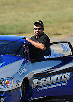 Sept. 5, 2010; Clermont, IN, USA; NHRA pro stock driver Mark Martino during qualifying for the U.S. Nationals at O'Reilly Raceway Park at Indianapolis. Mandatory Credit: Mark J. Rebilas-