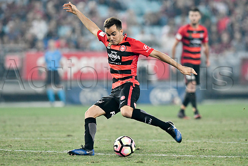 April 8th 2017, ANZ Stadium, Sydney, Australia; A-League football, Western Sydney Wanderers versus Melbourne Victory; Wanderers midfielder Steven Lustica takes a shot; The match  ended in a 0-0 draw;