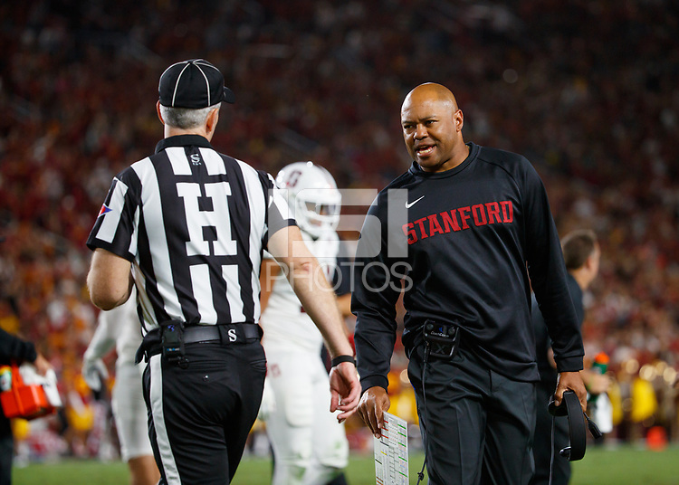 LOS ANGELES, CA - SEPTEMBER 8: Stanford Cardinal head coach David Shaw speaks with a referee during a game between USC and Stanford Football at Los Angeles Memorial Coliseum on September 7, 2019 in Los Angeles, California.