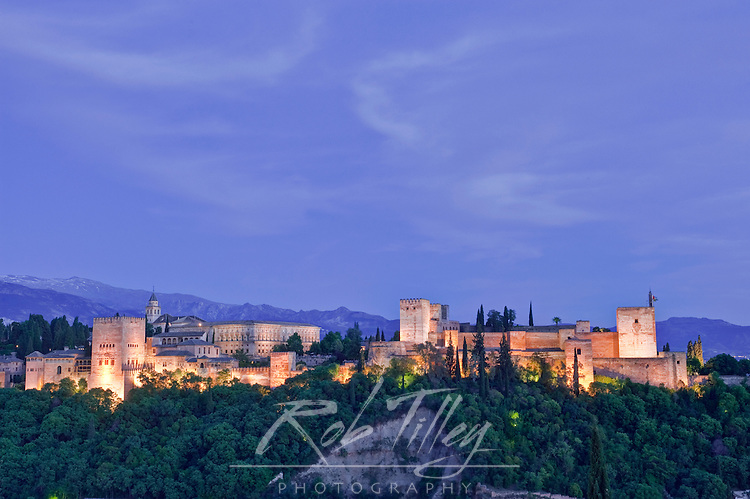 Europe, Spain, Andalucia, Granada, Alhambra Twilight