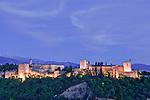 Europe, Spain, Andalucia, Granada, Alhambra Twilight