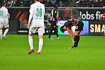 06.10.2019, Commerzbankarena, Frankfurt, GER, 1. FBL, Eintracht Frankfurt vs. SV Werder Bremen, <br /> <br /> DFL REGULATIONS PROHIBIT ANY USE OF PHOTOGRAPHS AS IMAGE SEQUENCES AND/OR QUASI-VIDEO.<br /> <br /> im Bild: Frust bei Makoto Hasebe (Eintracht Frankfurt #20)<br /> <br /> Foto © nordphoto / Fabisch