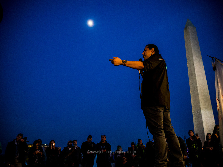 Dallas Goldtooth addresses members of indian tribes who have gathered from across the country on the Mall near the Washington Monument for protests, prayers, and demonstrations for human rights and to raise awareness of Native American Indian issues, in Washington DC, USA 09 March 2017.