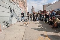 Street art enthusiasts flock to the Williamsburg neighborhood of Brooklyn in New York on Thursday, October 17, 2013 to see the seventeenth installment of Banksy's graffiti art. The elusive street artist is creating works around the city each day during the month of October.  (© Richard B. Levine)