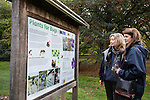 Visitors reading interpretation panel on Plants for Bugs research beds at Howards Field Wisley Gardens.