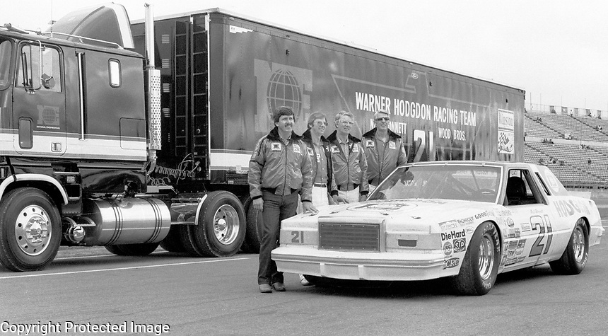 Neil Bonnett with the Wood Brothers and his race car and team transporter and Daytona in February 1982. (Photo by Brian Cleary)