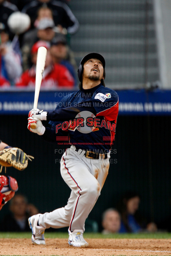 Michihiro Ogasawara of Japan during World Baseball Championship at Petco Park in San Diego,California on March 12, 2006. Photo by Larry Goren/Four Seam Images