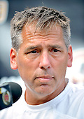 Ashburn, VA - August 4, 2009 -- Washington Redskins head coach Jim Zorn meets reporters following today's afternoon session of training camp for the 2009 season at Redskins Park in Ashburn Virginia on Monday, August 4, 2009..Credit: Ron Sachs / CNP