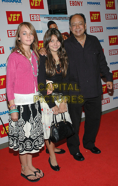 "23 August 2005 - New York, New York -  Cheech Marin arrives with his daughter Jasmine (c) and her friend Lindsey (l) at the premiere of his new film, ""The Underclassman"", at the Chelsea West Cinema in Manhattan.  .Photo Credit: Patti Ouderkirk/AdMedia"
