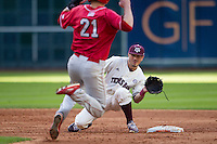 Texas A&M Aggies shortstop Blake Allemand (1) awaits a throw as Nebraska Cornhuskers baserunner Ryan Boldt (21) runs towards second base during Houston College Classic on March 6, 2015 at Minute Maid Park in Houston, Texas. Texas A&M defeated Nebraska 2-1. (Andrew Woolley/Four Seam Images)