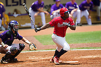 Stony Brook Seawolves third baseman William Carmona #5 at bat during the NCAA Super Regional baseball game against LSU on June 9, 2012 at Alex Box Stadium in Baton Rouge, Louisiana. Stony Brook defeated LSU 3-1. (Andrew Woolley/Four Seam Images)