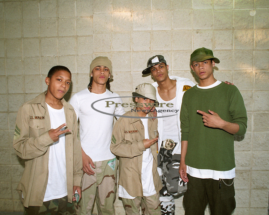 Bad Records artist B5 (pictured from L-R) Carnell, Kelly, Bryan, Dustin, Patrick at the K104 FM Summer Jam in Dallas, Texas July 2005.  Photo credit: Presswire News/Elgin Edmonds
