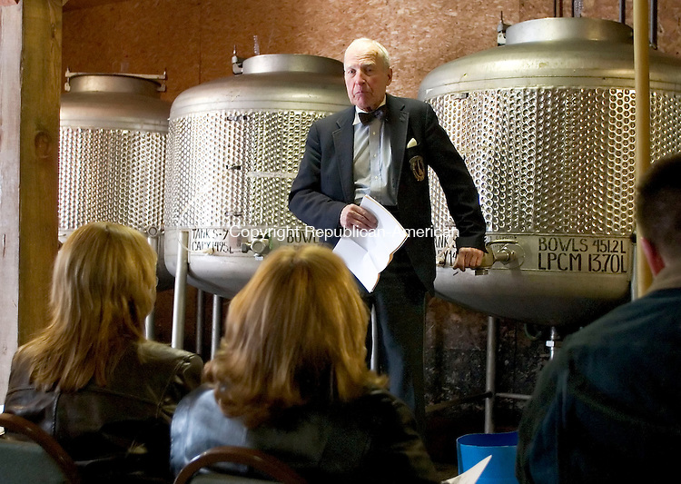 LITCHFIELD, CT- 18 MARCH 07- 031807JT08- <br /> Sherman Haight, whose family has owned Haight Vineyards for 30 years, leads the vineyard's 26th annual wine barrel tasting on Sunday in Litchfield.<br /> Josalee Thrift Republican-American