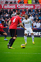 Sunday, 23 November 2012<br /> <br /> Pictured: Phil Jones of Manchester United attempts to get the ball past Wayne Routlage of Swansea City<br /> <br /> Re: Barclays Premier League, Swansea City FC v Manchester United at the Liberty Stadium, south Wales.