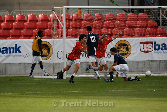 Sandy - Sandy - Brighton defeats Layton High School boys soccer 4-0, 5A state championship game  Thursday May 21, 2009 at Rio Tinto Stadium..Brighton's Carter Babcock scores