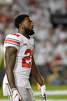 STATE COLLEGE, PA - SEPTEMBER 29: Ohio State WR/H-B Parris Campbell, Jr. (21) takes in the whole stadium whole out during warm ups. The Ohio State Buckeyes defeated the Penn State Nittany Lions 27-26 on September 29, 2018 at Beaver Stadium in State College, PA. (Photo by Randy Litzinger/Icon Sportswire)