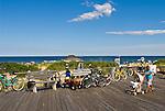 Busy boardwalk along the beach in Ocean Grove, New Jersey