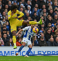 Brighton &amp; Hove Albion's Anthony Knockaert (right) crosses the ball despite the attentions of Chelsea William <br /> (left) <br /> <br /> Photographer David Horton/CameraSport<br /> <br /> The Premier League - Brighton and Hove Albion v Chelsea - Sunday 16th December 2018 - The Amex Stadium - Brighton<br /> <br /> World Copyright &copy; 2018 CameraSport. All rights reserved. 43 Linden Ave. Countesthorpe. Leicester. England. LE8 5PG - Tel: +44 (0) 116 277 4147 - admin@camerasport.com - www.camerasport.com
