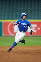 Ben Aklinski (52) of the Kentucky Wildcats rounds second base against the Louisiana Ragin' Cajuns in game seven of the 2018 Shriners Hospitals for Children College Classic at Minute Maid Park on March 4, 2018 in Houston, Texas.  The Wildcats defeated the Ragin' Cajuns 10-4. (Brian Westerholt/Four Seam Images)
