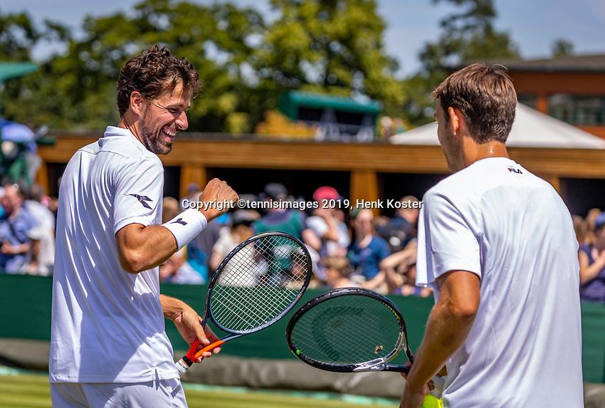 London, England, 4 July, 2019, Tennis,  Wimbledon, Mens doubles: Robin Haase (NED) and Frederik Nielsen (DEN) (R)<br /> Photo: Henk Koster/tennisimages.com