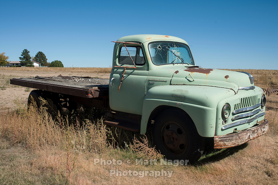 An old truck in Tribune, Kansas, Friday, October 11, 2013. The challenges of depopulation in the rural Midwest and Great Plains continue to grow as counties increasingly see more deaths than births. Greeley County, Kansas's least populated county, and the state as a whole are mounting a new fight to stem losses and finding early success. <br /> <br /> Photo by Matt Nager