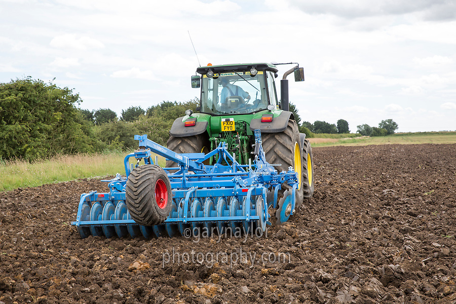Cultivating ploughed pea land with a Lemken Rubin 12 - Lincolnshire, July