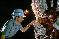 Park Geologist w Acetylene Lamp, Carlsbad Caverns National Park. Paul Tice. New Mexico USA.