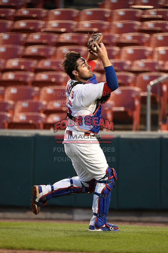 Buffalo Bisons catcher Mike Nickeas (15) catches a pop up bunt attempt by Christian Bethancourt (not shown) during a game against the Gwinnett Braves on May 13, 2014 at Coca-Cola Field in Buffalo, New  York.  Gwinnett defeated Buffalo 3-2.  (Mike Janes/Four Seam Images)