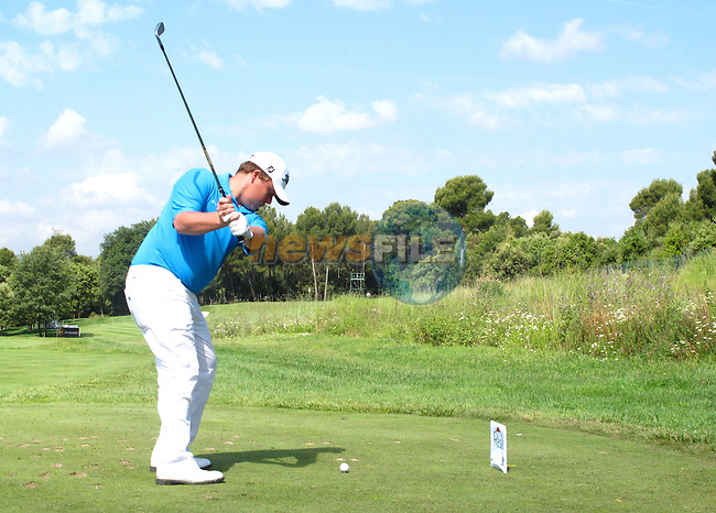 George Coetzee (RSA) in action on the 13th tee during Day 2 of the Open de Espana at Real Club De Golf El Prat, Terrasa, Barcelona, 6th May 2011. (Photo Eoin Clarke/Golffile 2011)