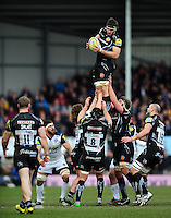 Don Armand of Exeter Chiefs wins the ball at a lineout. Aviva Premiership match, between Exeter Chiefs and Bath Rugby on February 28, 2016 at Sandy Park in Exeter, England. Photo by: Patrick Khachfe / Onside Images