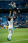 Marcelo Vieira Da Silva of Real Madrid plays with his son Liam Alves Vieira after the UEFA Champions League Semi-final 2nd leg match between Real Madrid and Bayern Munich at the Estadio Santiago Bernabeu on May 01 2018 in Madrid, Spain. Photo by Diego Souto / Power Sport Images