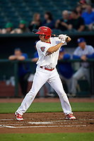 Memphis Redbirds designated hitter Breyvic Valera (68) at bat during a game against the Round Rock Express on April 28, 2017 at AutoZone Park in Memphis, Tennessee.  Memphis defeated Round Rock 9-1.  (Mike Janes/Four Seam Images)