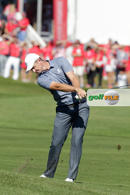 Justin Rose (ENG) Team Europe plays his 2nd shot on the 1st hole during Sunday Singles Matches of the 41st Ryder Cup, held at Hazeltine National Golf Club, Chaska, Minnesota, USA. 2nd October 2016.<br /> Picture: Eoin Clarke | Golffile<br /> <br /> <br /> All photos usage must carry mandatory copyright credit (&copy; Golffile | Eoin Clarke)